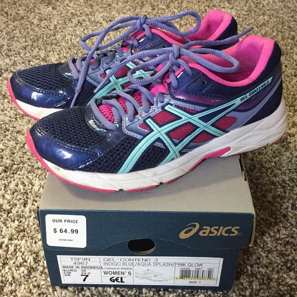 8d917131e5 Women's ASICS. Indigo blue/aqua/pink Size 7. Used